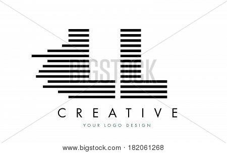 Ll L Zebra Letter Logo Design With Black And White Stripes