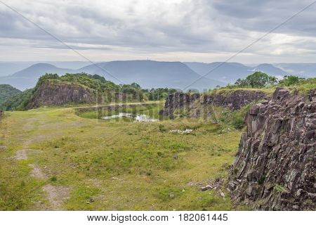 Old Stone Quarry In Morro Do Gaucho Mountain Landscape
