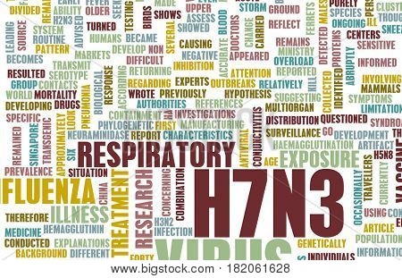 H7N3 Concept as a Medical Research Topic 3D Illustration Render