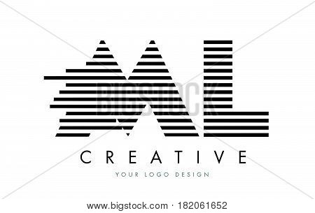 Ml M L Zebra Letter Logo Design With Black And White Stripes