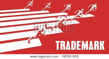 Trademark with Business People Running in a Path 3D Illustration Render
