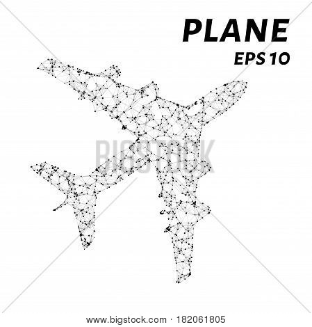 The Plane Consists Of Points, Lines And Triangles. The Polygon Shape In The Form Of A Silhouette Of