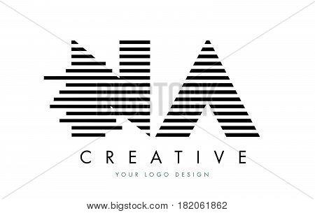 Na N A Zebra Letter Logo Design With Black And White Stripes