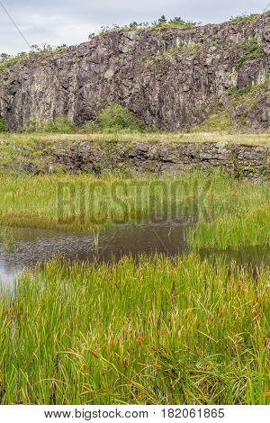 Lake In An Old Stone Quarry In Morro Do Gaucho Mountain Landscape