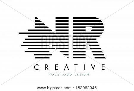 Nr N R Zebra Letter Logo Design With Black And White Stripes