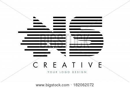 Ns N S Zebra Letter Logo Design With Black And White Stripes