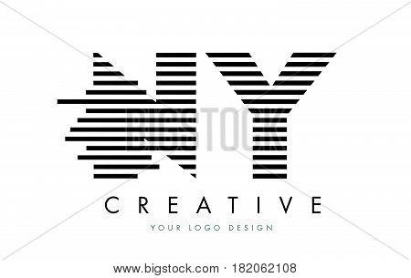 Ny N Y Zebra Letter Logo Design With Black And White Stripes