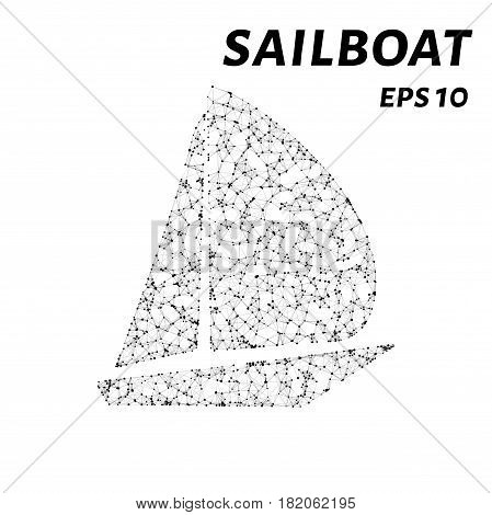 A Sailboat Consists Of Points, Lines And Triangles. The Polygon Shape In The Form Of A Silhouette Of