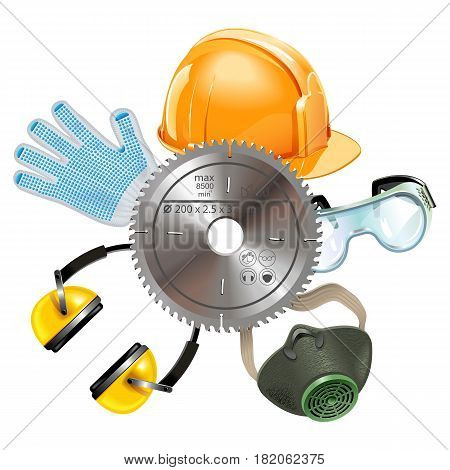 Vector Saw Protective Equipment isolated on white background