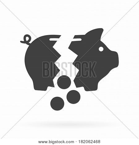 Broken piggy bank. Vector icon isolated on white background.