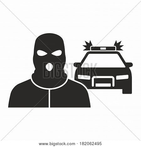 Police chasing a thief. Vector icon isolated on white background.
