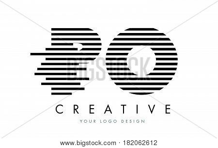 Po P O Zebra Letter Logo Design With Black And White Stripes