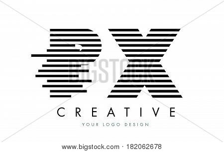 Px P X Zebra Letter Logo Design With Black And White Stripes