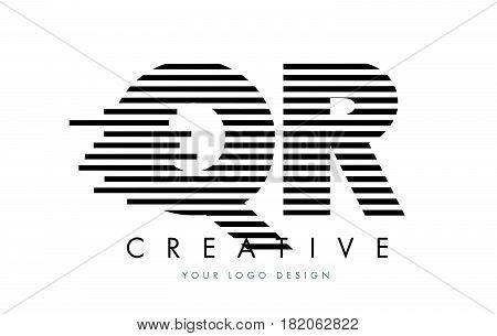 Qr Q R Zebra Letter Logo Design With Black And White Stripes