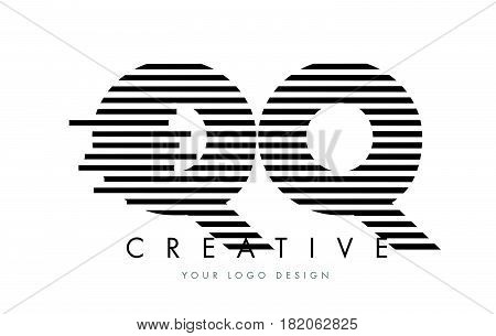 Qq Q Q Zebra Letter Logo Design With Black And White Stripes