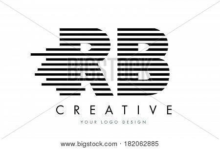 Rb R B Zebra Letter Logo Design With Black And White Stripes
