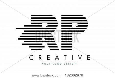 Rp R P Zebra Letter Logo Design With Black And White Stripes