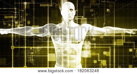 Healthcare Technology and Medical Scan of a Body Diagnosis 3D Illustration Render