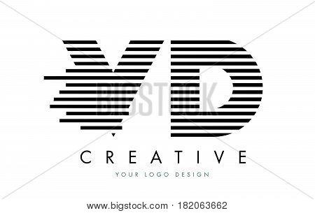 Vd V D Zebra Letter Logo Design With Black And White Stripes