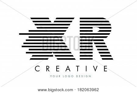 Xr X R Zebra Letter Logo Design With Black And White Stripes