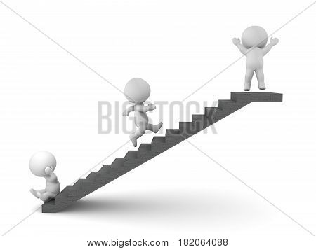 3D conceptual image depicting how keeping moving through adversity you will eventually reach success. Overcoming adversity concept.