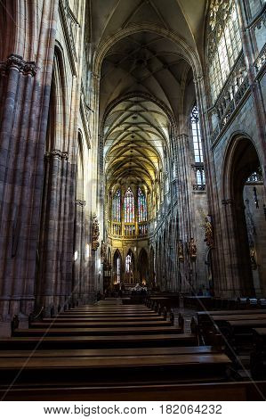 St.Vitus Cathedral the gothic masterpiece architecture of Prague Czech Republic.