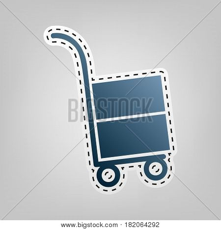 Hand truck sign. Vector. Blue icon with outline for cutting out at gray background.