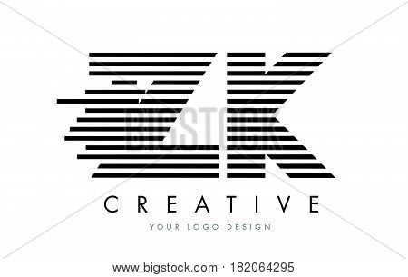 Zk Z K Zebra Letter Logo Design With Black And White Stripes