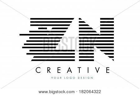 Zn Z N Zebra Letter Logo Design With Black And White Stripes