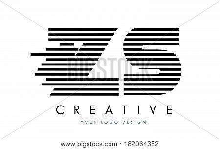 Zs Z S Zebra Letter Logo Design With Black And White Stripes