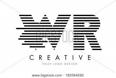 Wr W R Zebra Letter Logo Design With Black And White Stripes