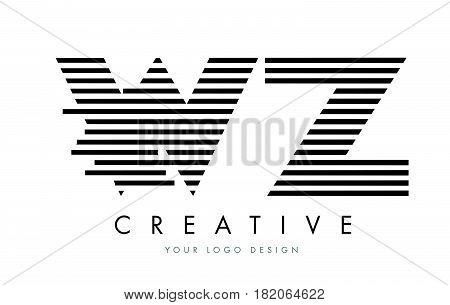 Wz W Z Zebra Letter Logo Design With Black And White Stripes