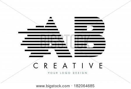 Ab A B Zebra Letter Logo Design With Black And White Stripes