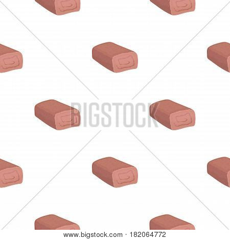 Meatloaf icon in cartoon style isolated on white background. Meats pattern vector illustration