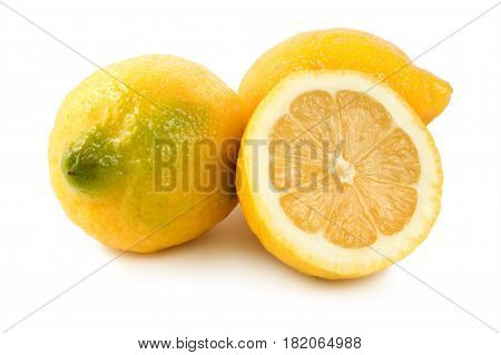 Three lemons isolated on a white background