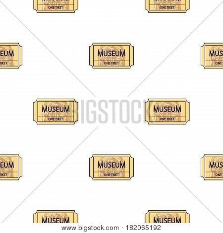 Ticketto the museum icon in cartoon style isolated on white background. Museum pattern vector illustration.