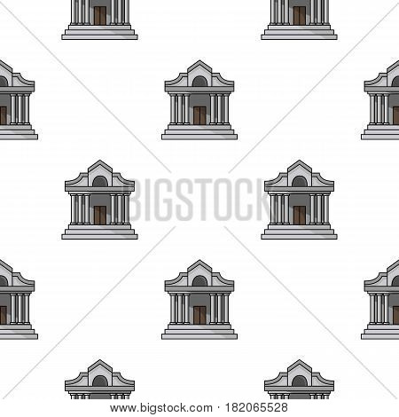 Museum building icon in cartoon style isolated on white background. Museum pattern vector illustration.