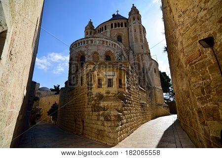 Medieval building of Dormition Abbey in old city of Jerusalem Israel.