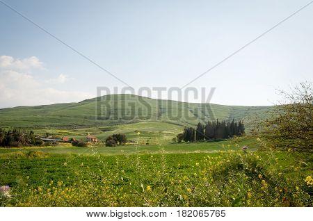 View from Galilee Mountains near Galilee Sea - Kinneret, Israel.