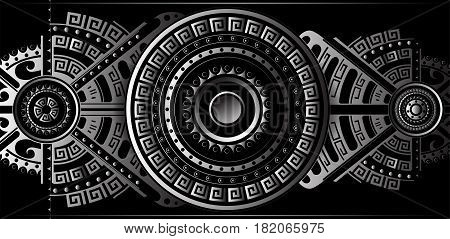 Futuristic ornament panel with ethnic and tribal geometric elements