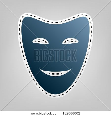 Comedy theatrical masks. Vector. Blue icon with outline for cutting out at gray background.