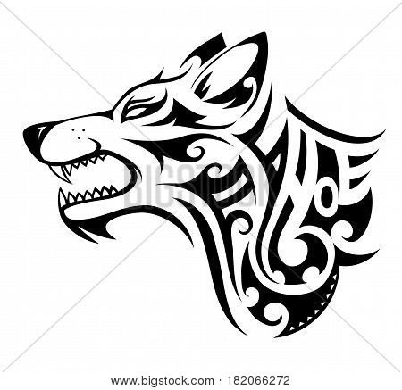 Wolf tribal tattoo in Maori ethnic style