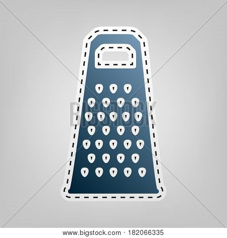 Cheese grater sign. Vector. Blue icon with outline for cutting out at gray background.