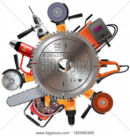 Vector Saw with Power Tools isolated on white background