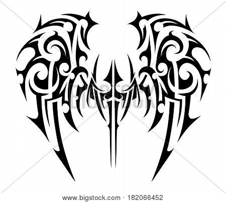 Wings tattoo in tribal art style. Angel wings