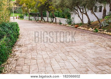 Pathway in garden, green lawns with bricks pathways, garden landscape design.