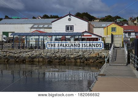 STANLEY, FALKLAND ISLANDS - JANUARY 14, 2017: Jetty used by visitors arriving by sea in Stanley, capital of the Falkland Islands.