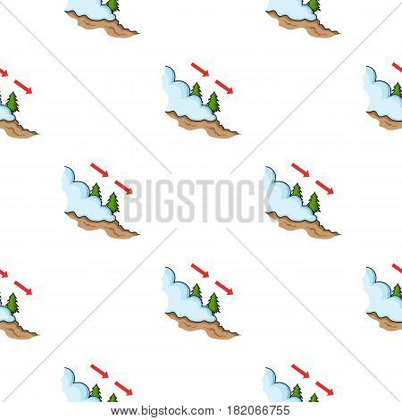 Avalanche icon in cartoon style isolated on white background. Ski resort pattern vector illustration.