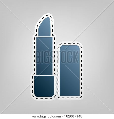 Pomade simple sign. Vector. Blue icon with outline for cutting out at gray background.