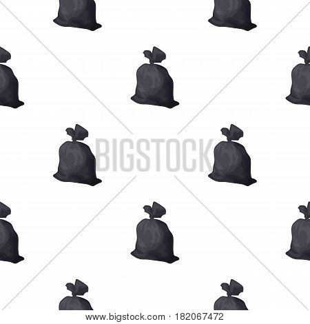 Garbage bag icon in cartoon style isolated on white background. Trash and garbage pattern vector illustration.